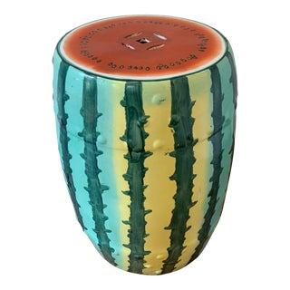 Imported Hand Painted Watermelon Garden Stool For Sale