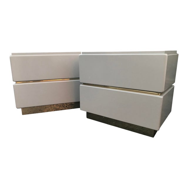 Vintage Lane Brass and Lacquered Nightstands-A Pair For Sale