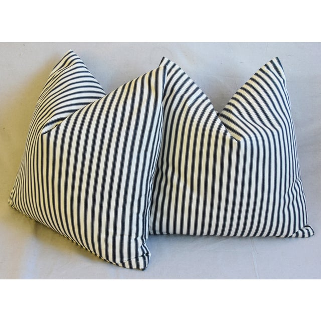 """Black French Black & White Striped Ticking Feather/Down Pillows 23"""" Square - Pair For Sale - Image 8 of 10"""