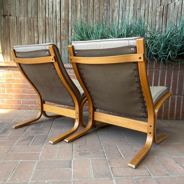 Beige Vintage Westnofa Ingmar Relling Design Leather & Bent Wood Lounge Chairs - a Pair For Sale - Image 8 of 13