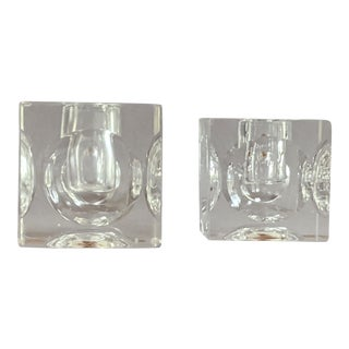 Mid-Century Rudolfova Cube Candle Holders - a Pair For Sale