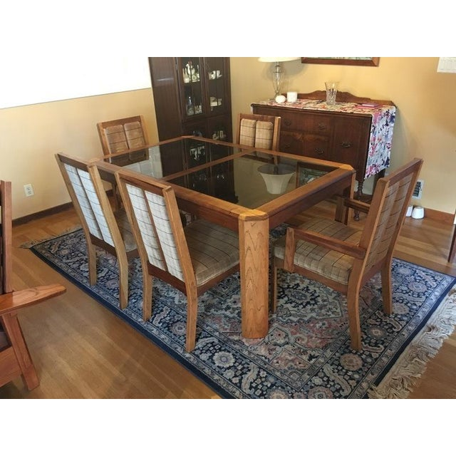 Vintage Oak Glass Top Dining Suite - Image 2 of 11