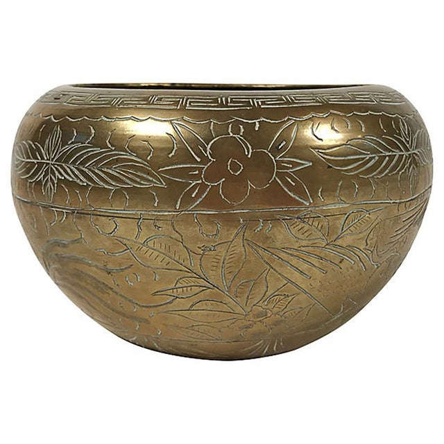 Boho Chic Asian Dragon & Floral Motif Brass Cachepot For Sale - Image 3 of 5