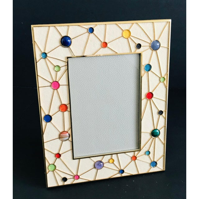 Italian Shagreen With Multi-Color Stones Photo Frame by Fabio Ltd For Sale - Image 3 of 9