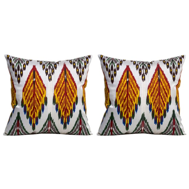 Vintage Silk Warp Cotton Weft Ikat Pillows - Pair For Sale