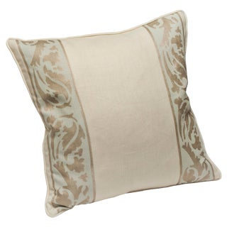 "Nomi Fabrics ""Venetian Vine"" Glacier Hand Printed Down Pillow For Sale"