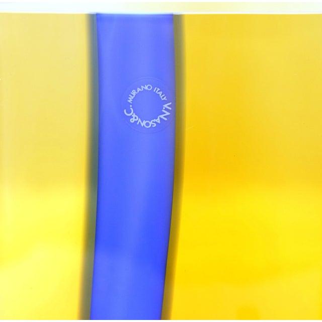Murano Amber & Blue Murano Glass Vases by v. Nason & C.-Set of 2 For Sale - Image 4 of 6