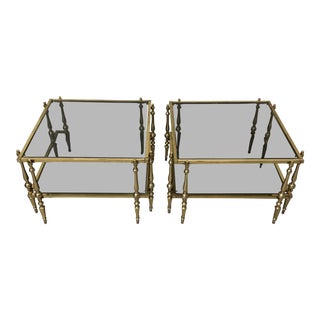 Italian Smoked Glass & Brass End Tables For Sale
