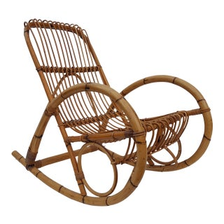 Franco Albini Rattan Rocking Chair .