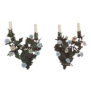 Italian Tole & Porcelain Flower Wall Sconces - a Pair For Sale