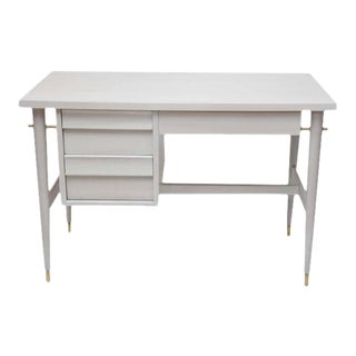 Immaculate American Modernist Bleached Mahogany and Brass Desk For Sale