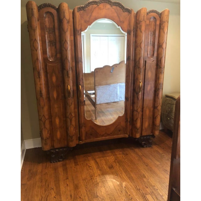 1920s Art Nouveau Italian Olive Wood Armoire For Sale - Image 5 of 5