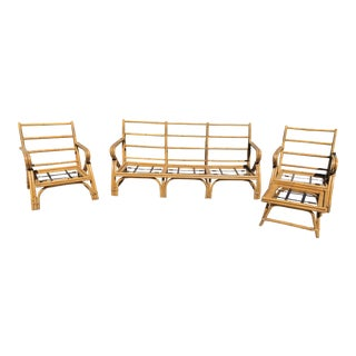 1950s Vintage Rattan Patio Frame Set- 4 Pieces For Sale