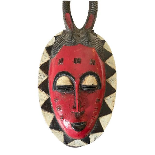 """Red Vtg African Guru Portrait Bird Mask Cote d'Ivoire 22.5"""" H For Sale - Image 8 of 9"""