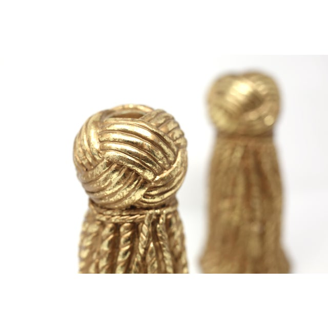 Vintage Gold Rope and Tassel Candlesticks For Sale - Image 4 of 10
