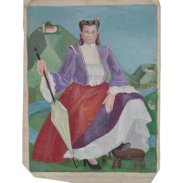 Nancy Larsen Vintage Oil Painting, C.1940's For Sale