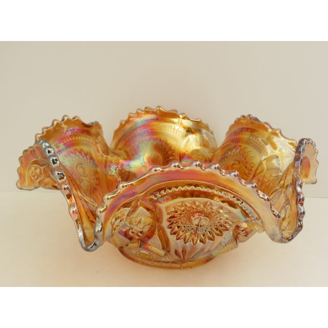 Imperial Glass Co. Marigold Ruffled Glass Bowl - Image 3 of 6