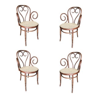 Sweetheart Bentwood Cane Bistro Cafe Armchairs with Wicker Seats by Thonet - Set of 4 For Sale