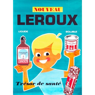 1950s Original French Chicory Poster, Chicoree Leroux For Sale