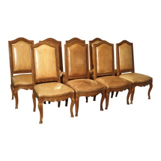 Set of 8 Antique Regence Style Leather Dining Chairs From France For Sale