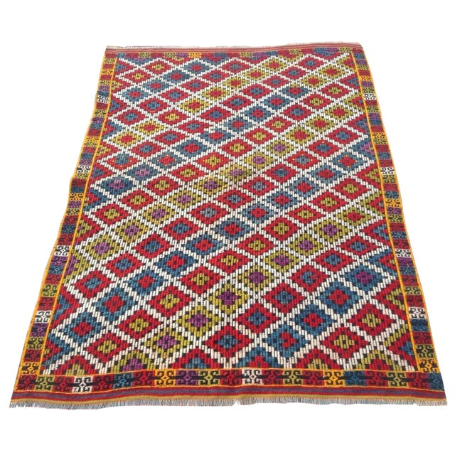 Vintage Turkish Kilim Rug - 4′6″ × 6′5″ For Sale