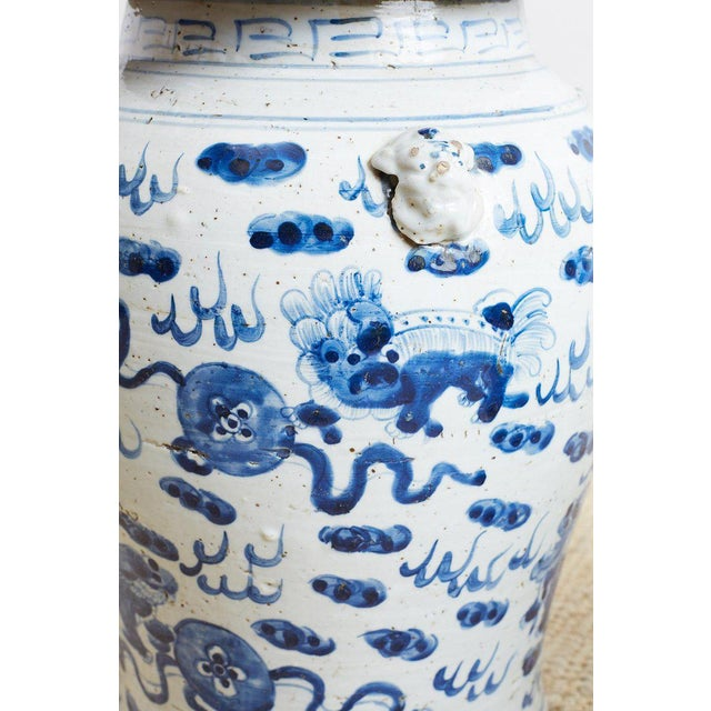 Pair of Chinese Blue and White Ginger Jars and Foo Dogs For Sale In San Francisco - Image 6 of 13