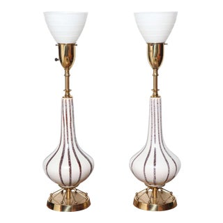 1950s Rembrandt Lamp Co. Painted Ceramic, Brass & Glass Shade Table Lamps - a Pair For Sale