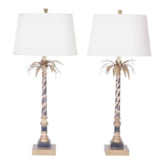 Palm Leaf and Faux Giraffe Print Table Lamps - A Pair For Sale