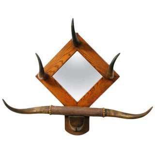 American Horn Hat Rack with Mirror For Sale