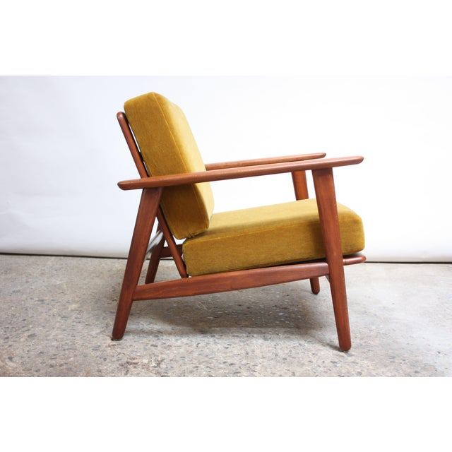Yellow Danish Modern Reclining Lounge Chair in Ochre Mohair For Sale - Image 8 of 13