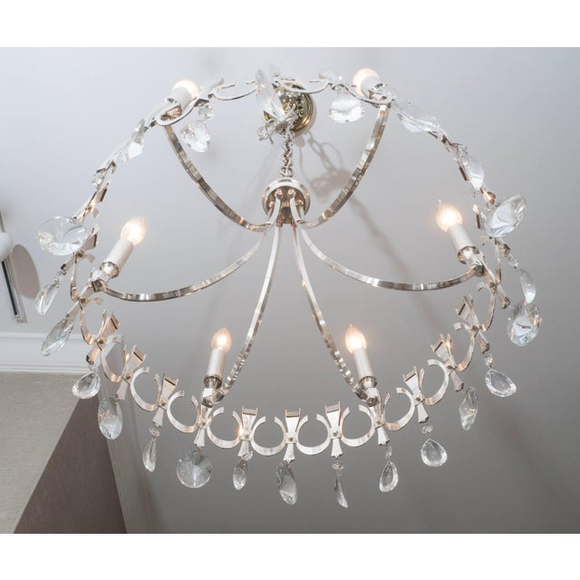 Metal Silverplate Six-Light Chandelier Attributed to Sciolari For Sale - Image 7 of 9