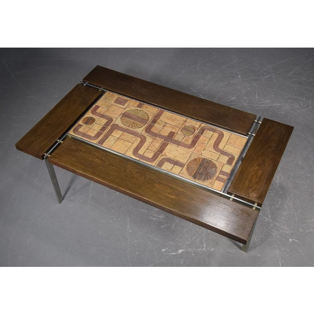 Mid-century tile, wood and stainless steel coffee table by Svend Aage Jessen & Sejer Pottery for Ryesberg Møbler. Tiles...