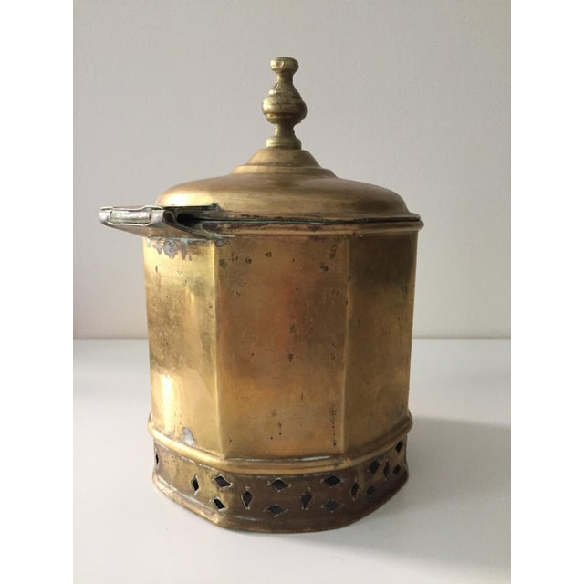 Boho Chic Primitive Moorish Brass Octagonal Kettle / Container For Sale - Image 3 of 9