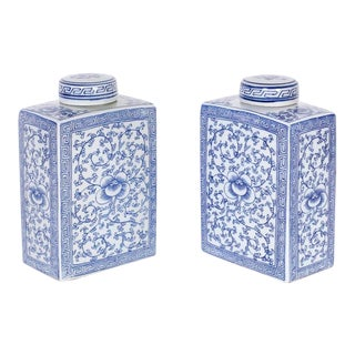 Chinese Blue and White Porcelain Tea Caddies - a Pair For Sale