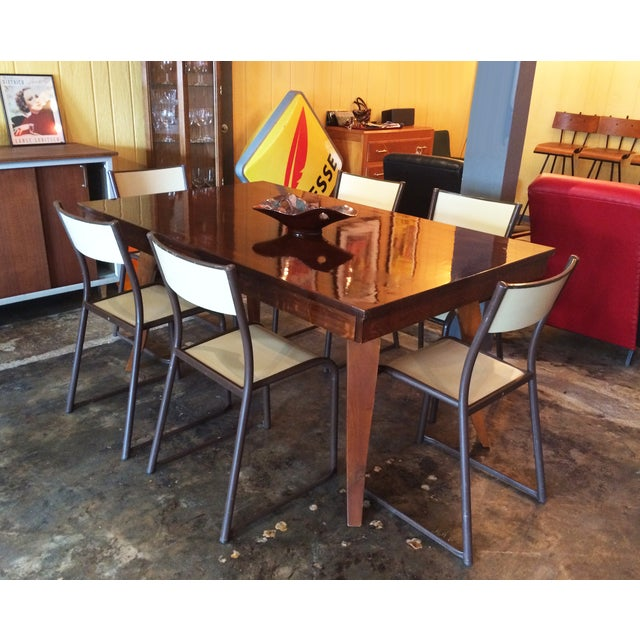 French Vintage Industrial Dining Chairs - Set of 6 - Image 7 of 10
