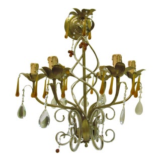 Vintage Italian Chandelier With Crystal Bead Work For Sale