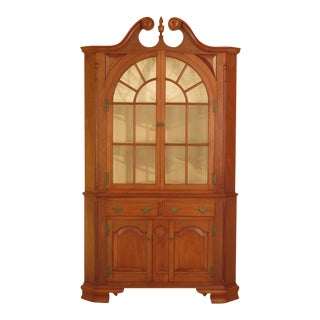Chippendale Walnut Large 2 Piece Custom Corner Cabinet