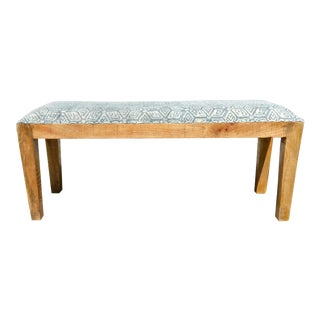 Boho Chic Mudcloth Style Light Blue and White Cotton Upholstered Bench