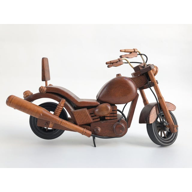 Late 20th Century Vintage Motorcycle Wood Model Sculpture For Sale - Image 5 of 8