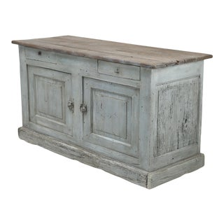 Antique Country French Painted Store or Bakery Counter For Sale