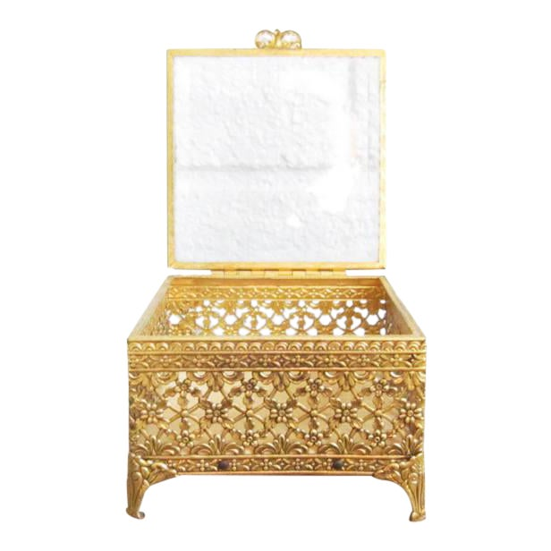 Vintage Gold Ormolu Jewelry Casket Ring Box For Sale