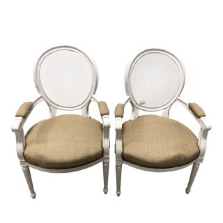 20th Century Louis XVI Cane Round Back Side Chairs - a Pair For Sale