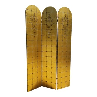 1960s Hollywood Regency Three Panels Gold Leaf Screen For Sale
