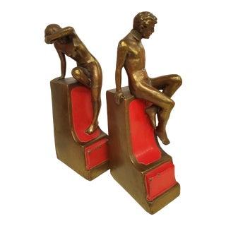 1900s Antique Pompeian Bronze Bookends - a Pair For Sale
