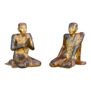 Antique Life-Size Burmese Monks - a Pair For Sale