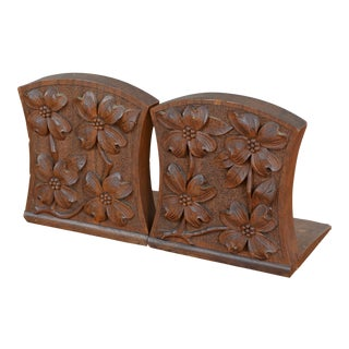Early 20th Century Carved Dogwood Arts and Crafts Bookends- a Pair For Sale