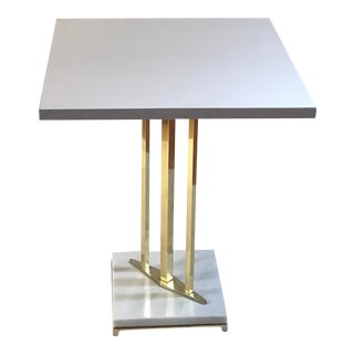 1970s Hollywood Regency Brass Accent Table Marble Base For Sale