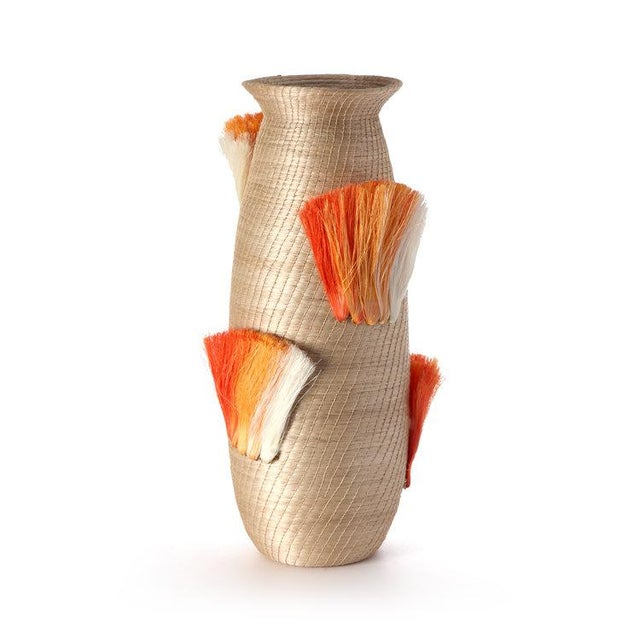 Fanned Out Large Tall Vase Flax & Tangerine Fans For Sale - Image 4 of 4
