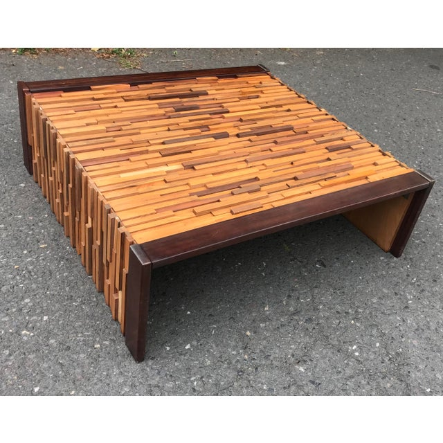 Glass Brazilian Rosewood Perceval Lafer Brutalist Coffee Table For Sale - Image 7 of 8