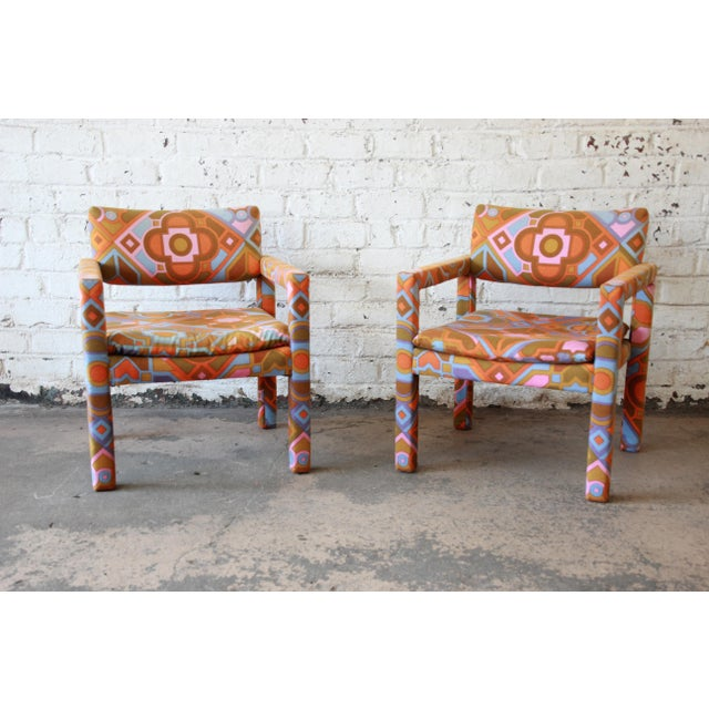 Boho Chic Milo Baughman for Thayer Coggin Parsons Style Club Chairs in Outstanding Larsen Fabric For Sale - Image 3 of 13